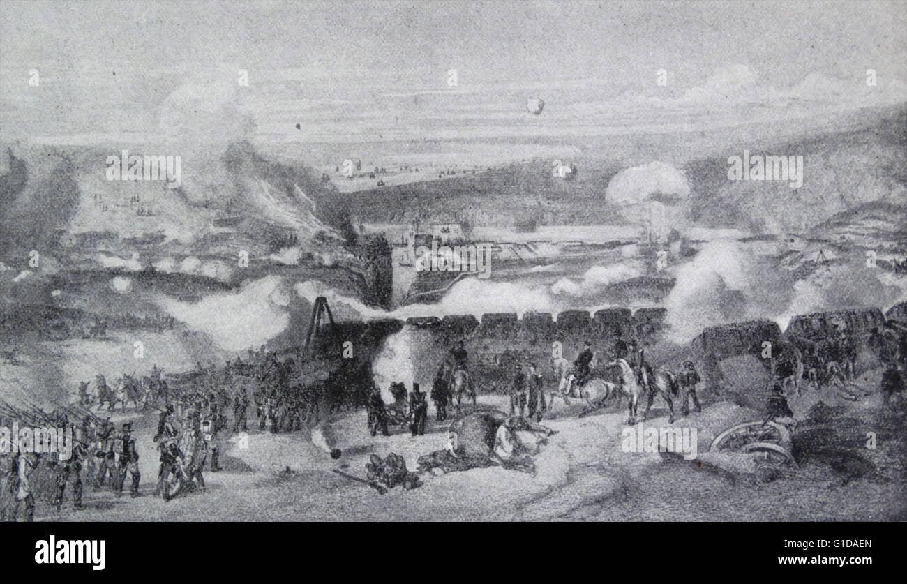 Siege of Sebastopol during the Crimean war 1854. - Stock Image