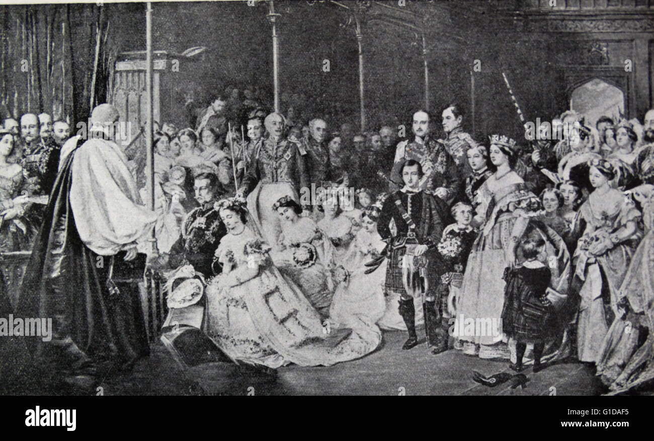 Marriage of Princess Royal, Victoria (1840-1901) to Fredrick William of Prussia (1831-1888). Princess Victoria was - Stock Image