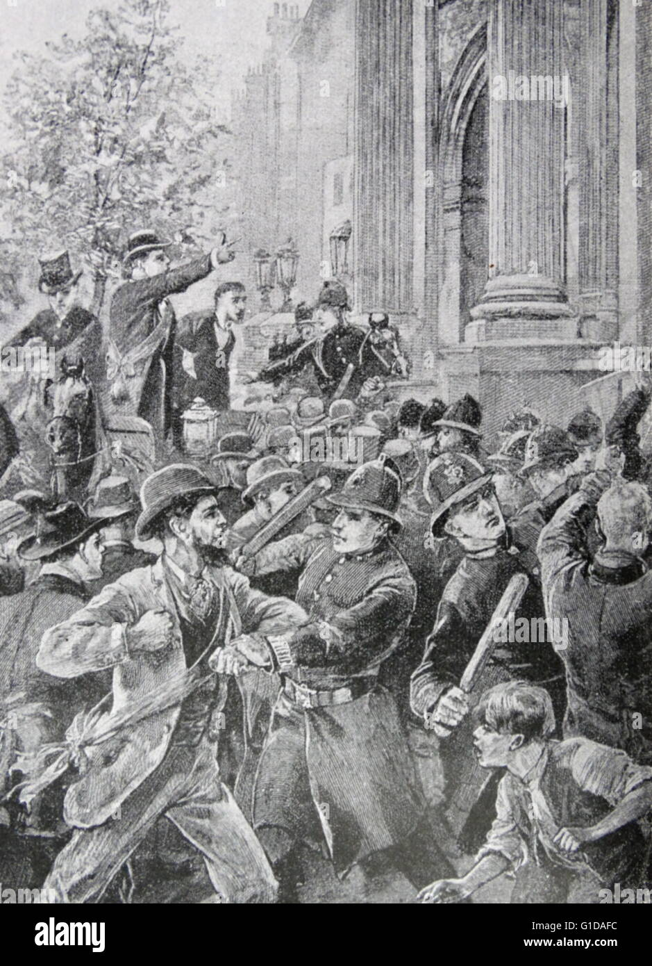 Hyde Park Riot 1866 was one of a series of riots in London advocating for the introduction of the Reform Bill which Stock Photo