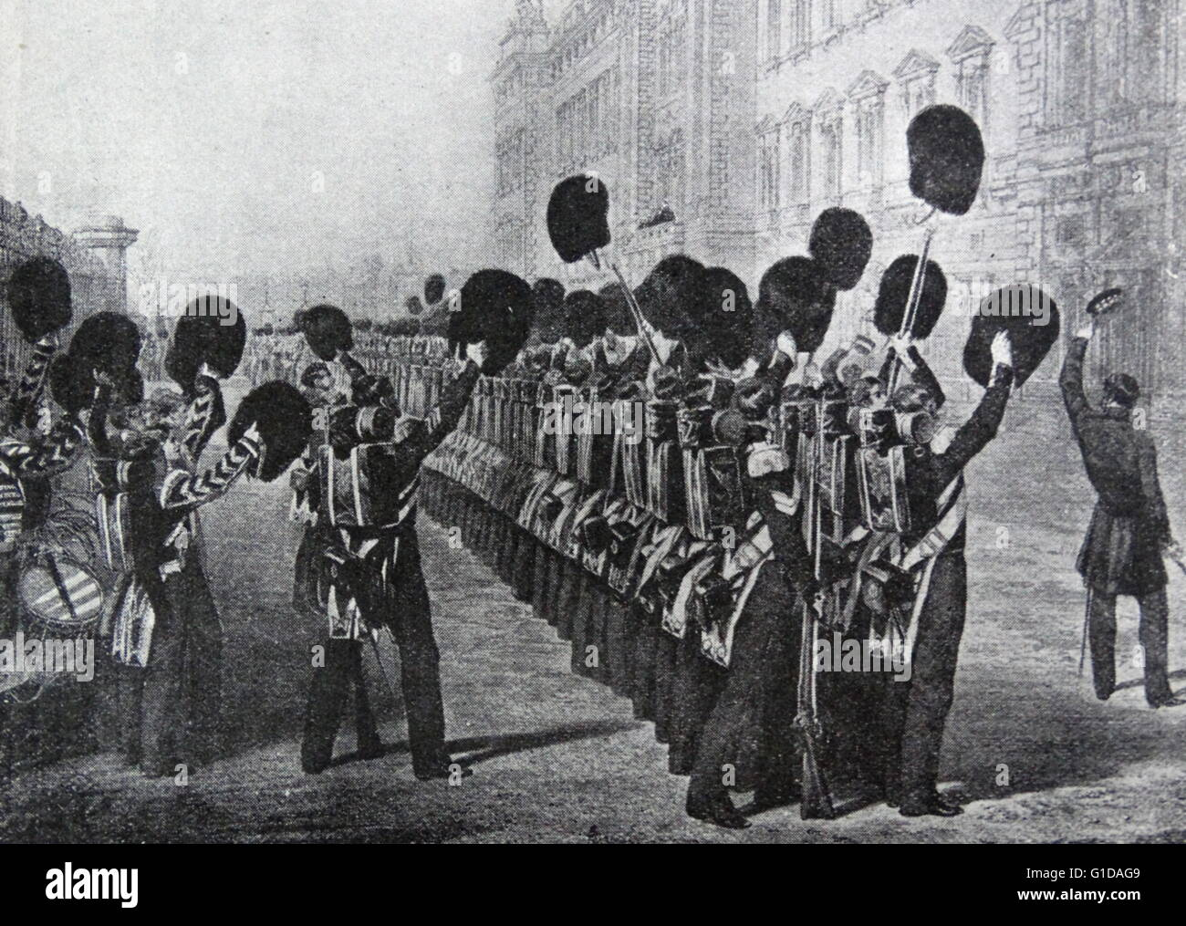Scots Guards cheer the Queen of Great Britain, Victoria as they leave for the Crimean war 1854 Stock Photo