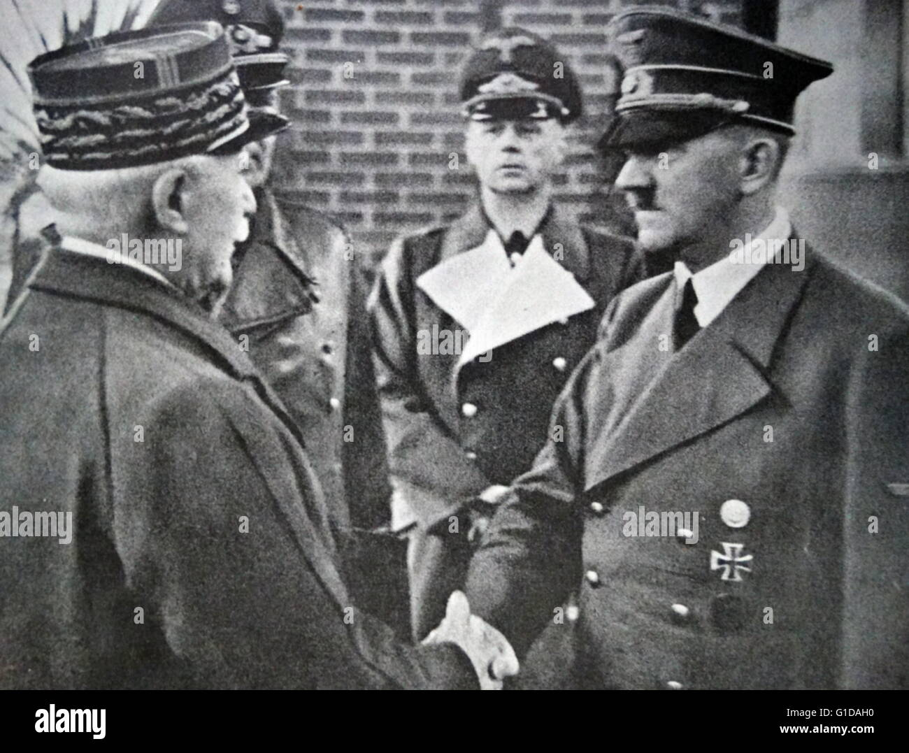 World war two: Adolf Hitler meets with Philippe Petain leader of Vichy France in October 1940 - Stock Image