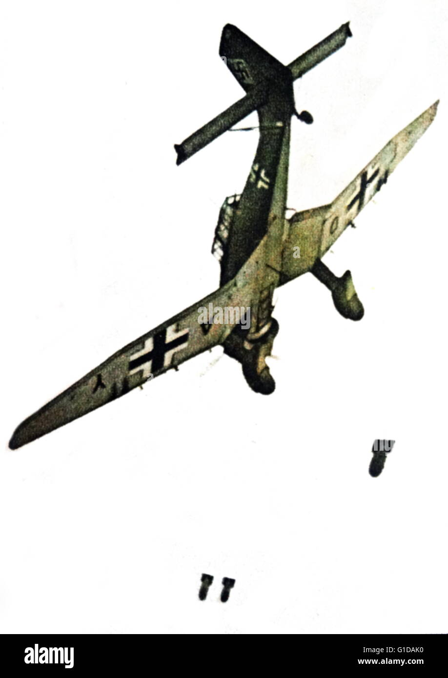 The Junkers Ju 87 or Stuka two-man (pilot and rear gunner) German dive bomber and ground-attack aircraft. Designed - Stock Image