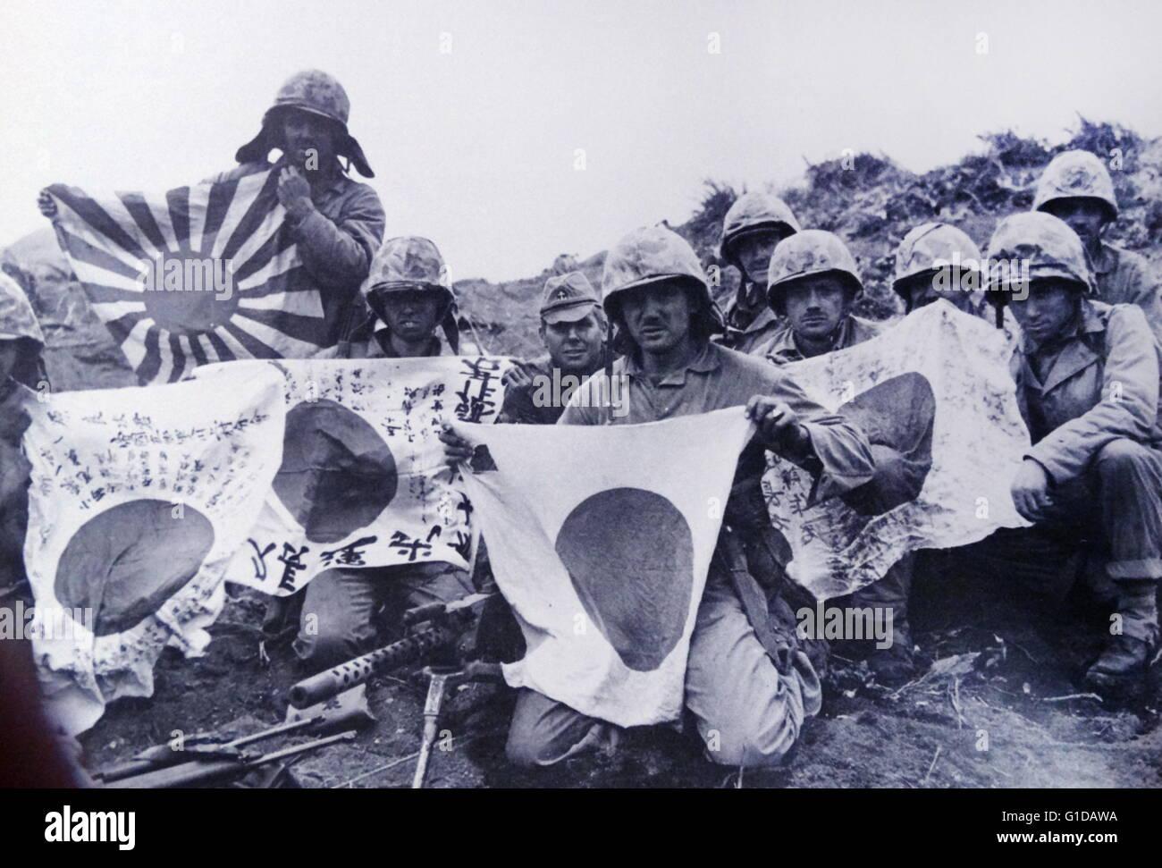 Marines exhibit Japanese flags. - Stock Image