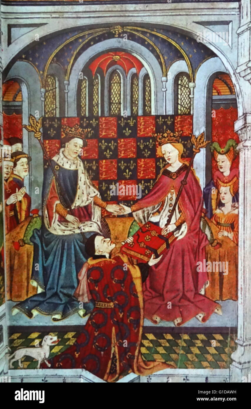 Henry VI and Margaret of Anjou with their courtiers. John Talbot, Earl of Shrewsbury kneels before the Queen to Stock Photo