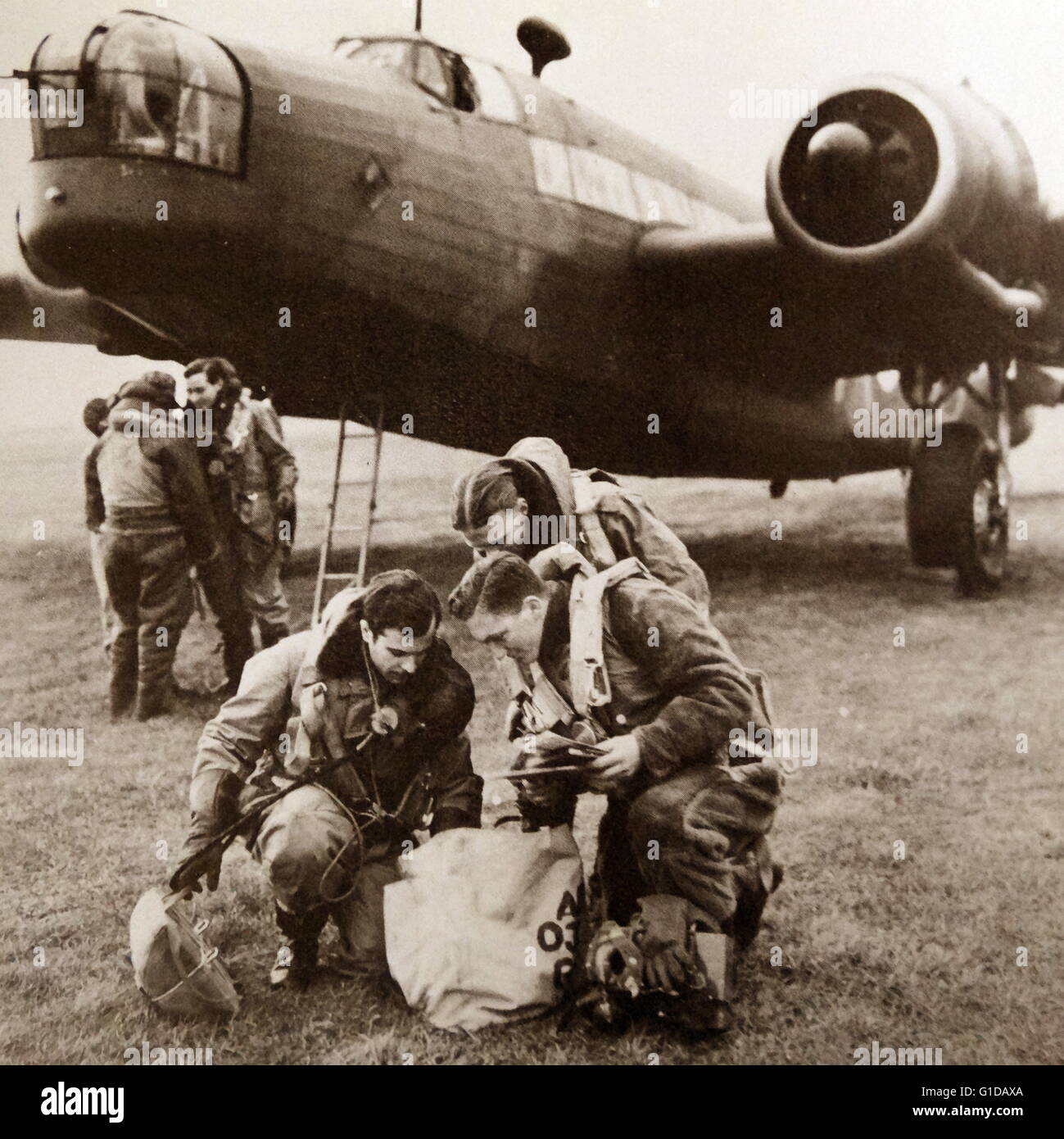 B-17 bombers returned from a mission over Germany. - Stock Image