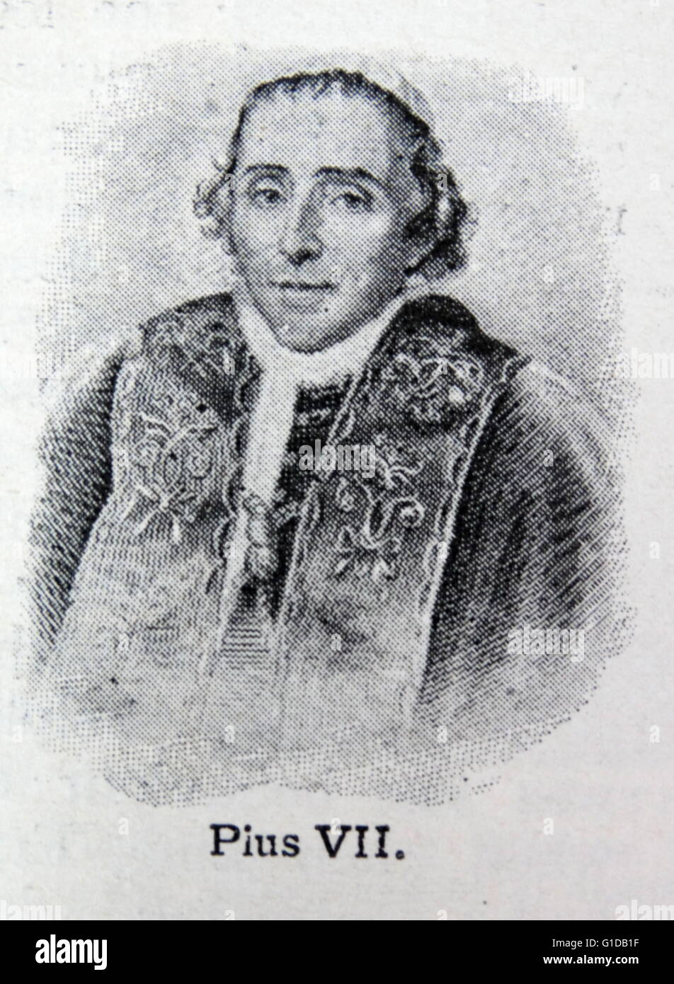 Pius VII. A nineteenth century pope (1800-1823). He was granted the posthumous title of Servant of God. Stock Photo
