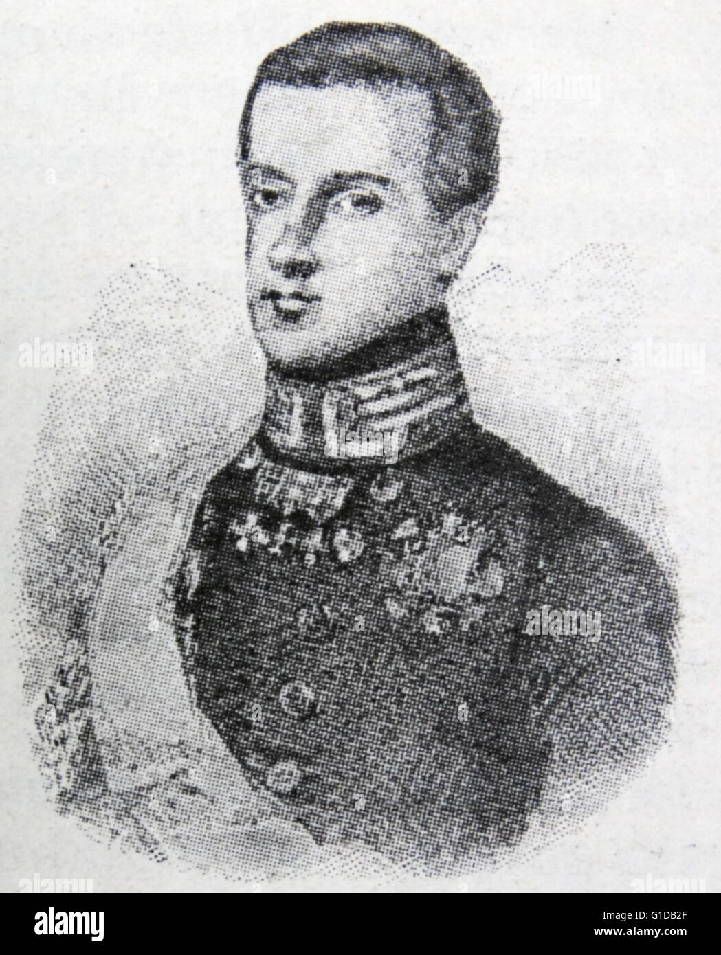 Charles Albert. He succeeded his father as King of Sardinia and pursued a policy of moderation despite declaring Stock Photo
