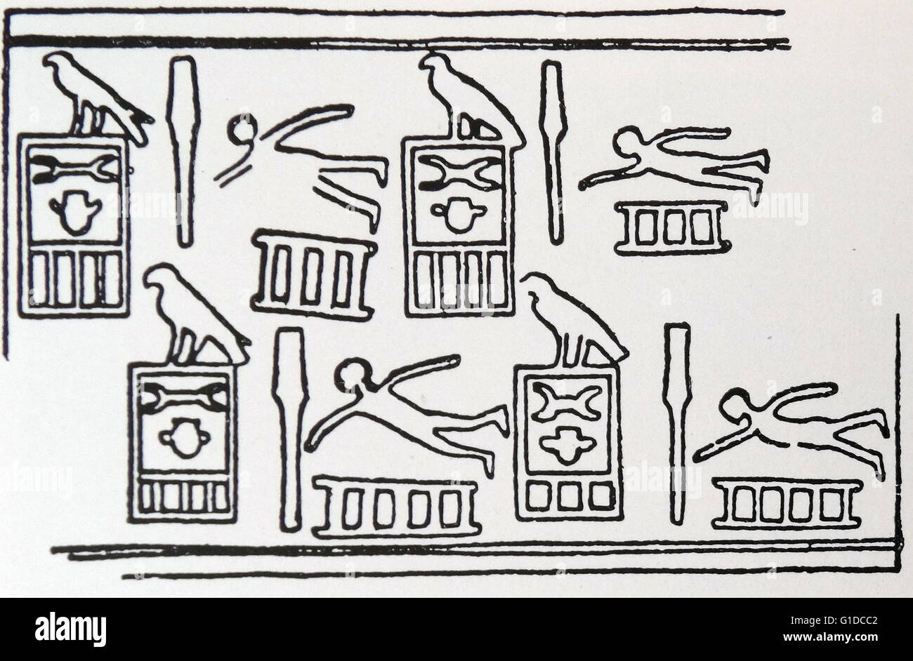 Hieroglyphs depicting elderly swimmers. Dated 3rd Century BC - Stock Image