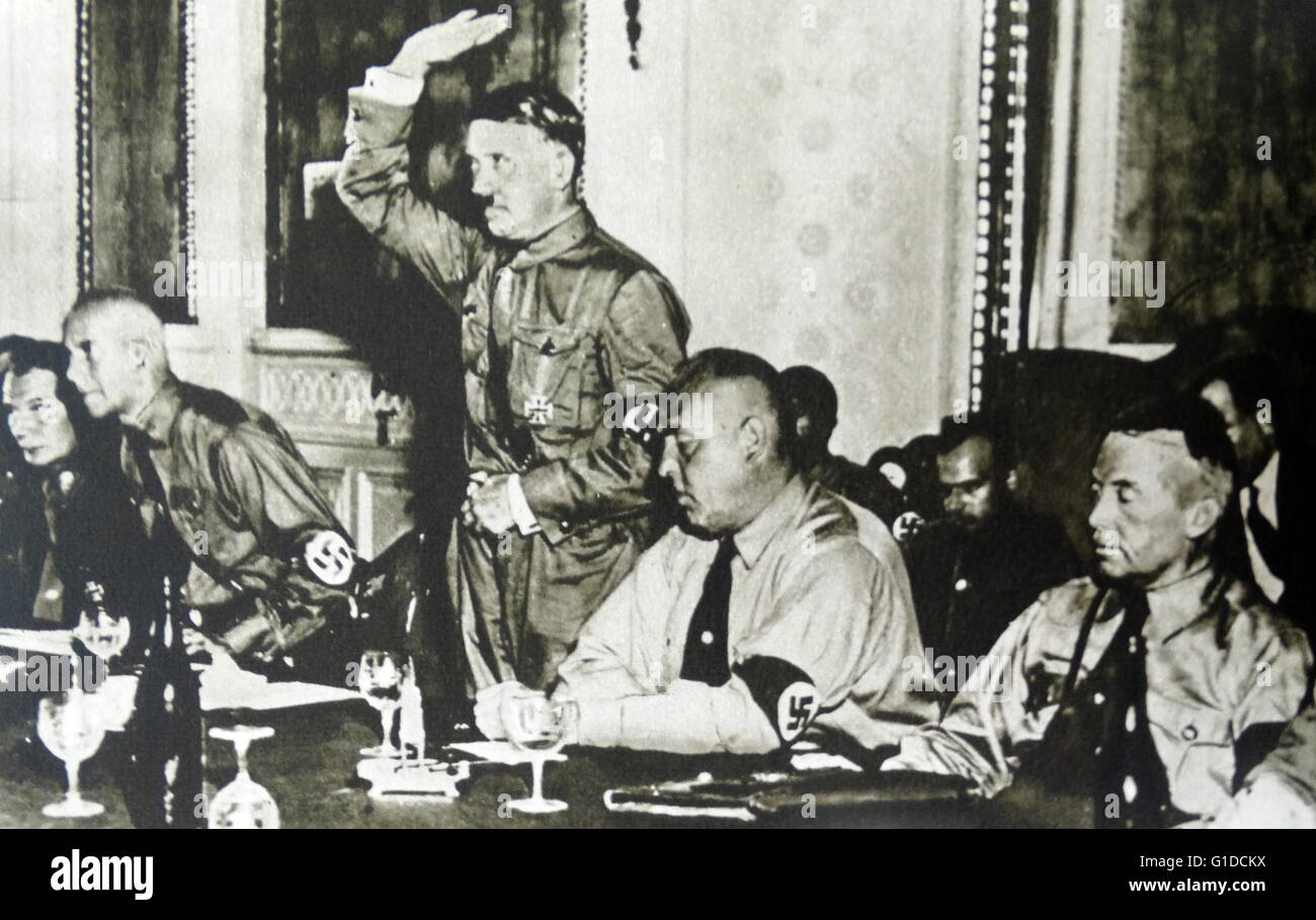 Photographic print of Nazi officer pledging their allegiance to Adolf Hitler (1889-1945) at the Hotel Kaiser of, - Stock Image