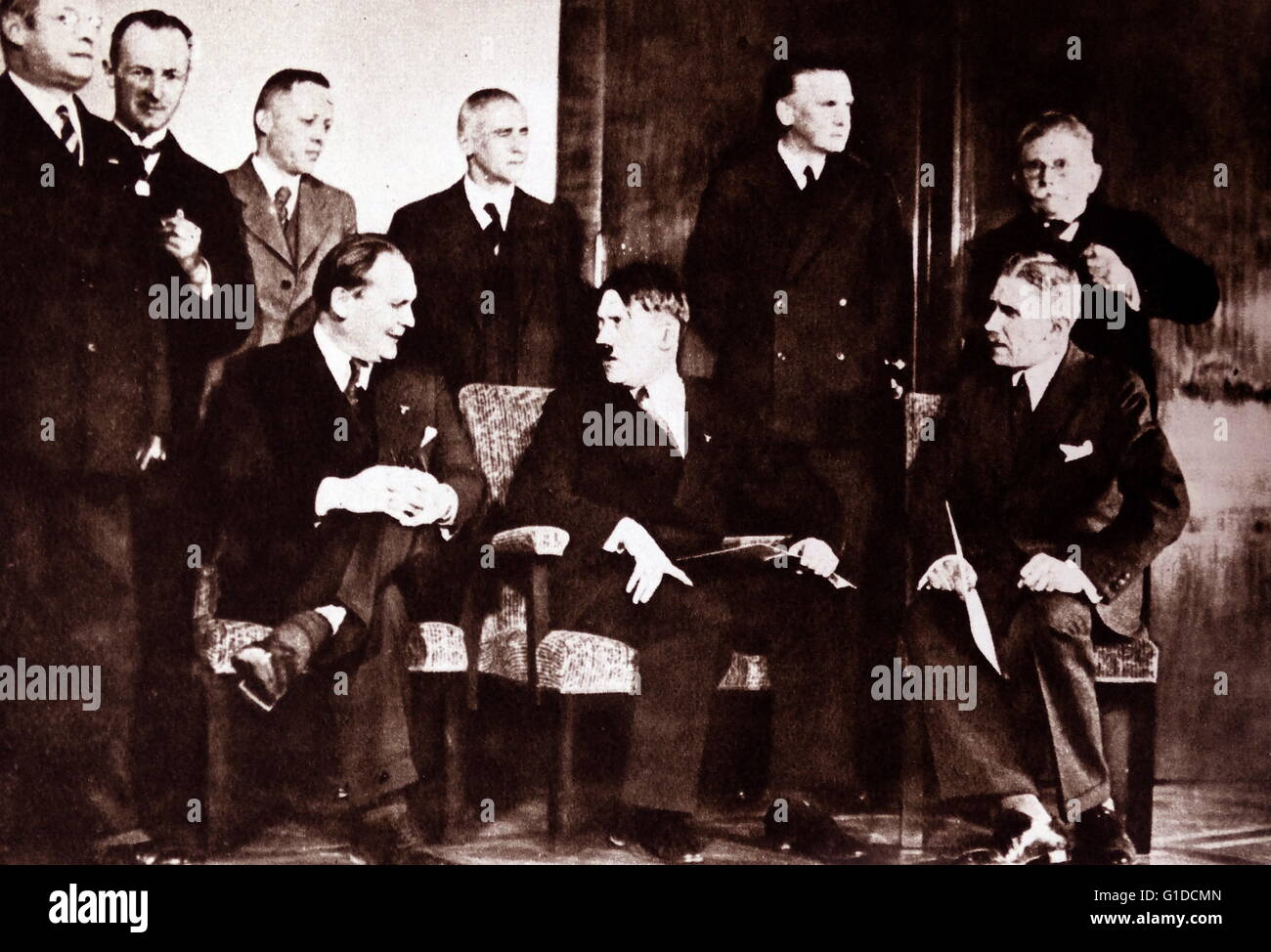 Photographic print of Adolf Hitler and other members of the Reich Cabinet: 1st row sitting, left to right: Hermann Stock Photo