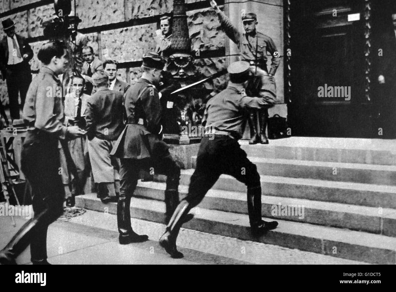 Photographic print shows National Socialists arriving at the first meeting in the German Parliament. Dated 20th - Stock Image