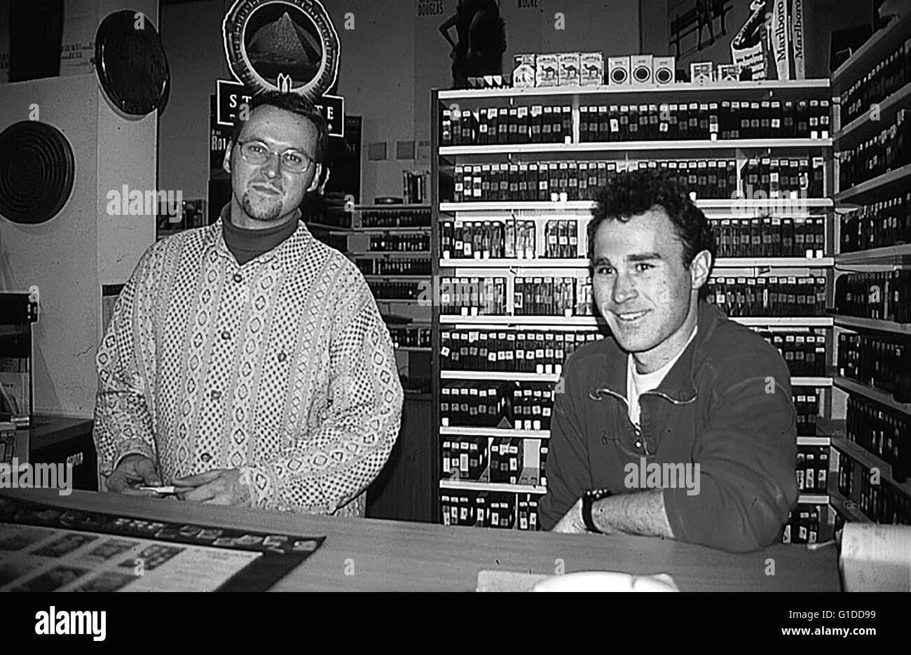 Marko, Patrik / Peter Mayer (Inhaber Krey's Video Center) / Videothek (Einrichtung, innen), Stock Photo