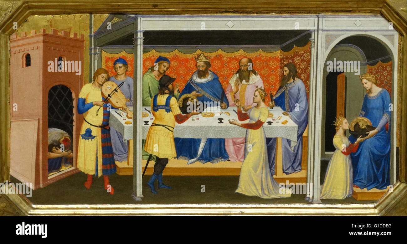 Painting Titled The Baptism Of Christ With Saints Peter And Paul By Niccolo Di Pietro Gerini 1340 1414 An Italian Painter Late Gothic Period