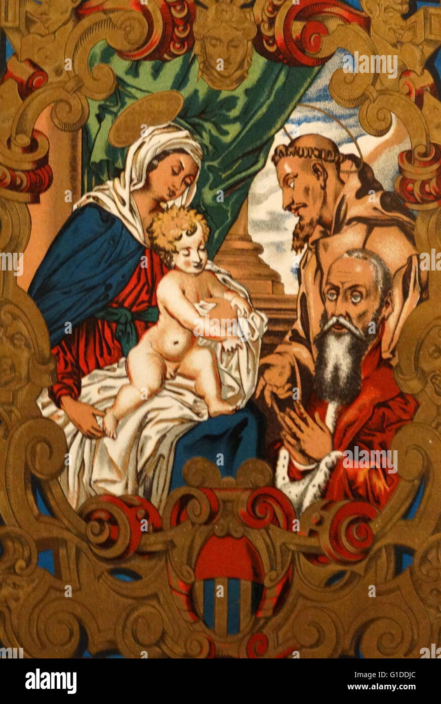 Illumination from the Venetian Diploma of Semitecolo depicting the Virgin and Child. Dated 16th Century - Stock Image