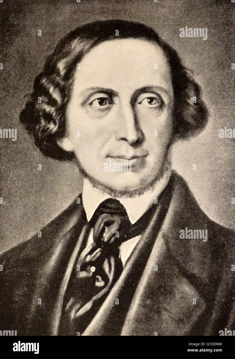 Portrait of Hans Christian Andersen (1805-1875) a Danish author. Dated 19th  Century