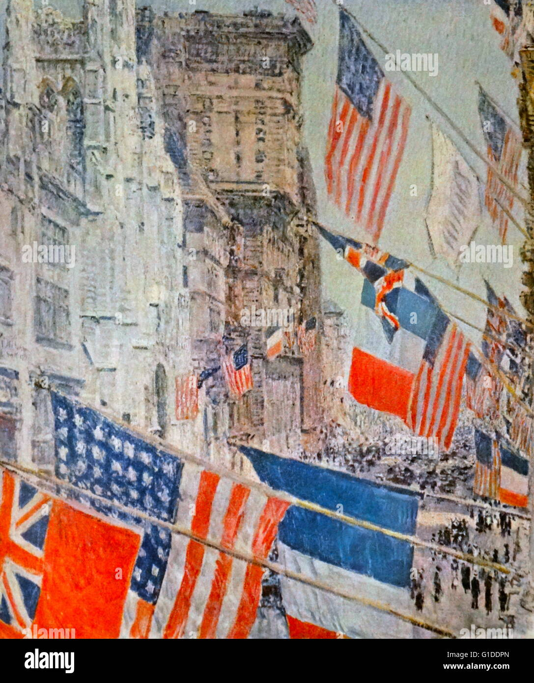 Painting titled 'Allies Day. May. 1917' by Childe Hassam (1859-1935) a prolific American Impressionist painter. - Stock Image