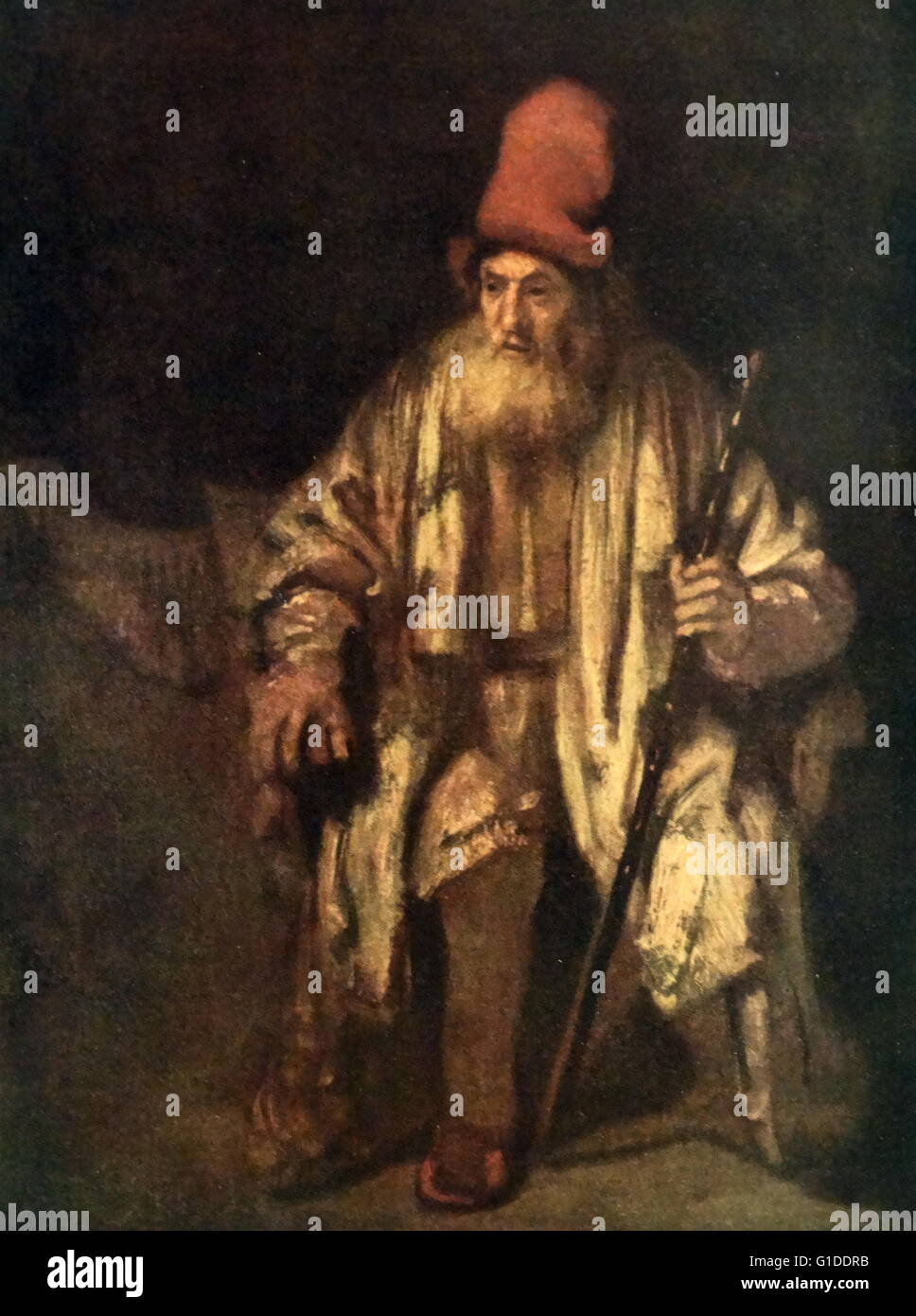 ZWPT1037 An old man with a warm hat handmade painted oil painting art on Canvas
