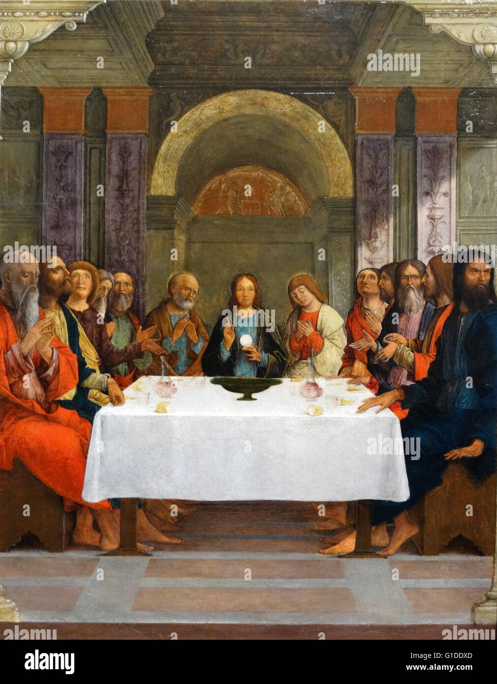 Painting titled 'The Institution of the Eucharist' by Ercole de' Roberti (1451-1496) an Italian artist - Stock Image