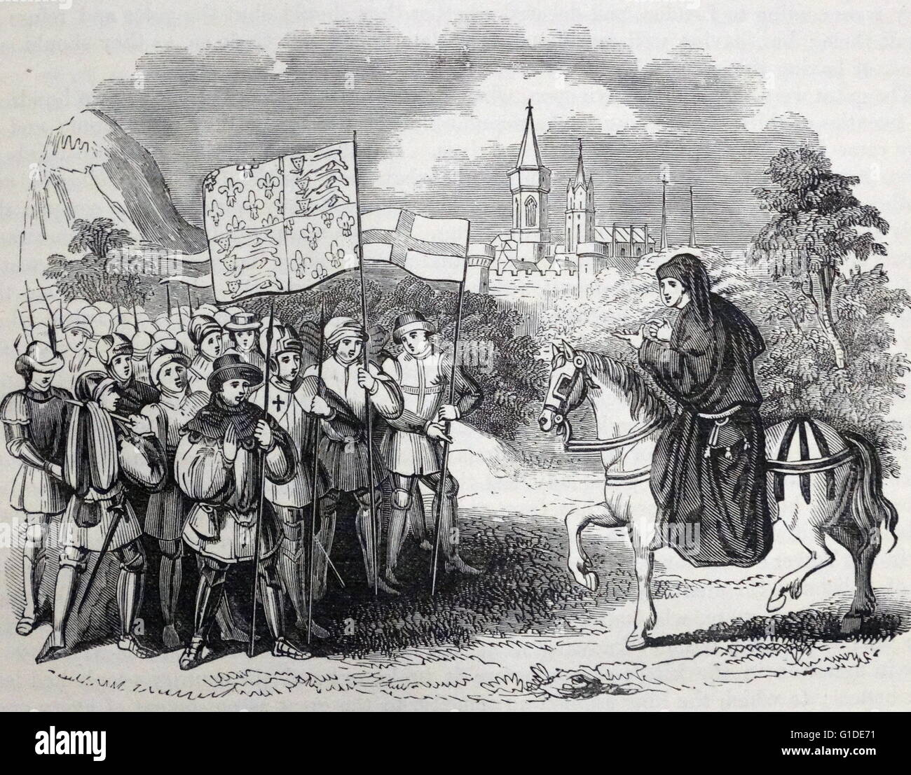 Engraving depicting John Ball (1338-1381) an English Lollard priest who  took a prominent part in the Peasants' Revolt of 1381. Dated 14th Century
