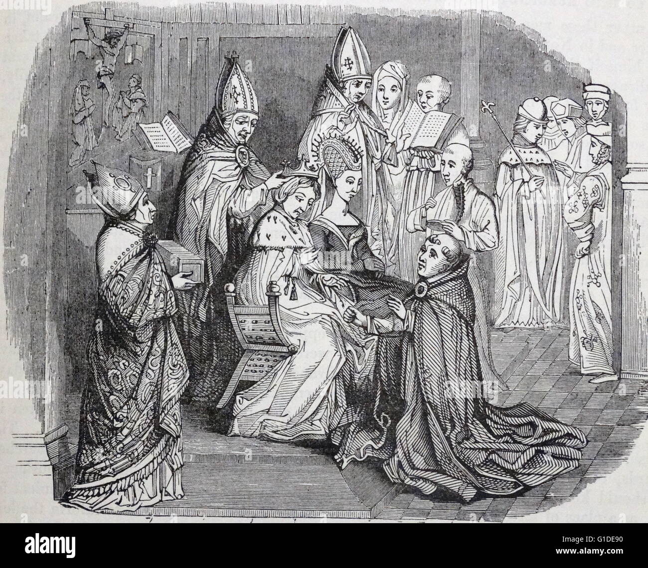Engraving depicting the coronation of King Charles V, Holy Roman Emperor (1500-1558) and his Queen Isabella of Portugal - Stock Image