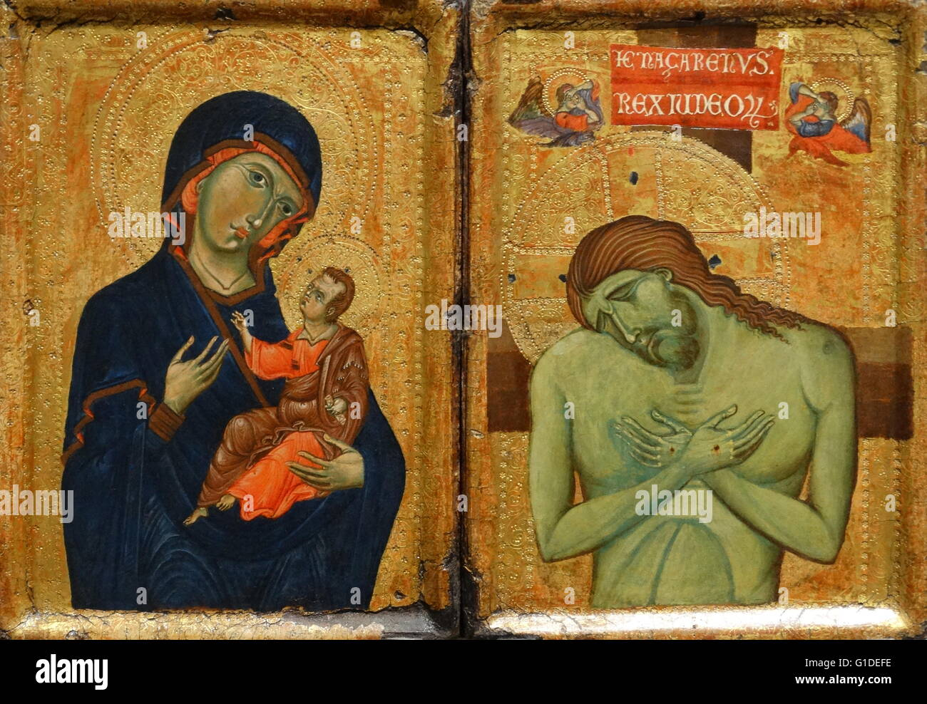 Painting titled 'The Virgin and Child; The Man of Sorrows' by an unknown Umbrian artist. Dated 13th Century Stock Photo