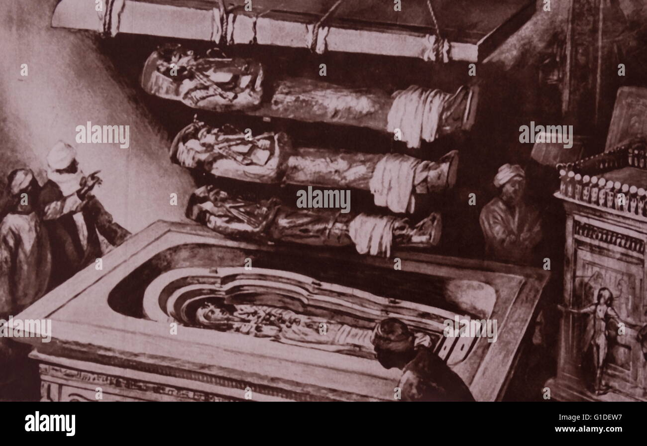 Reconstruction of the opening of the sarcophagus of Tutankhamun, the Egyptian pharaoh of the 18th Dynasty. Dated - Stock Image