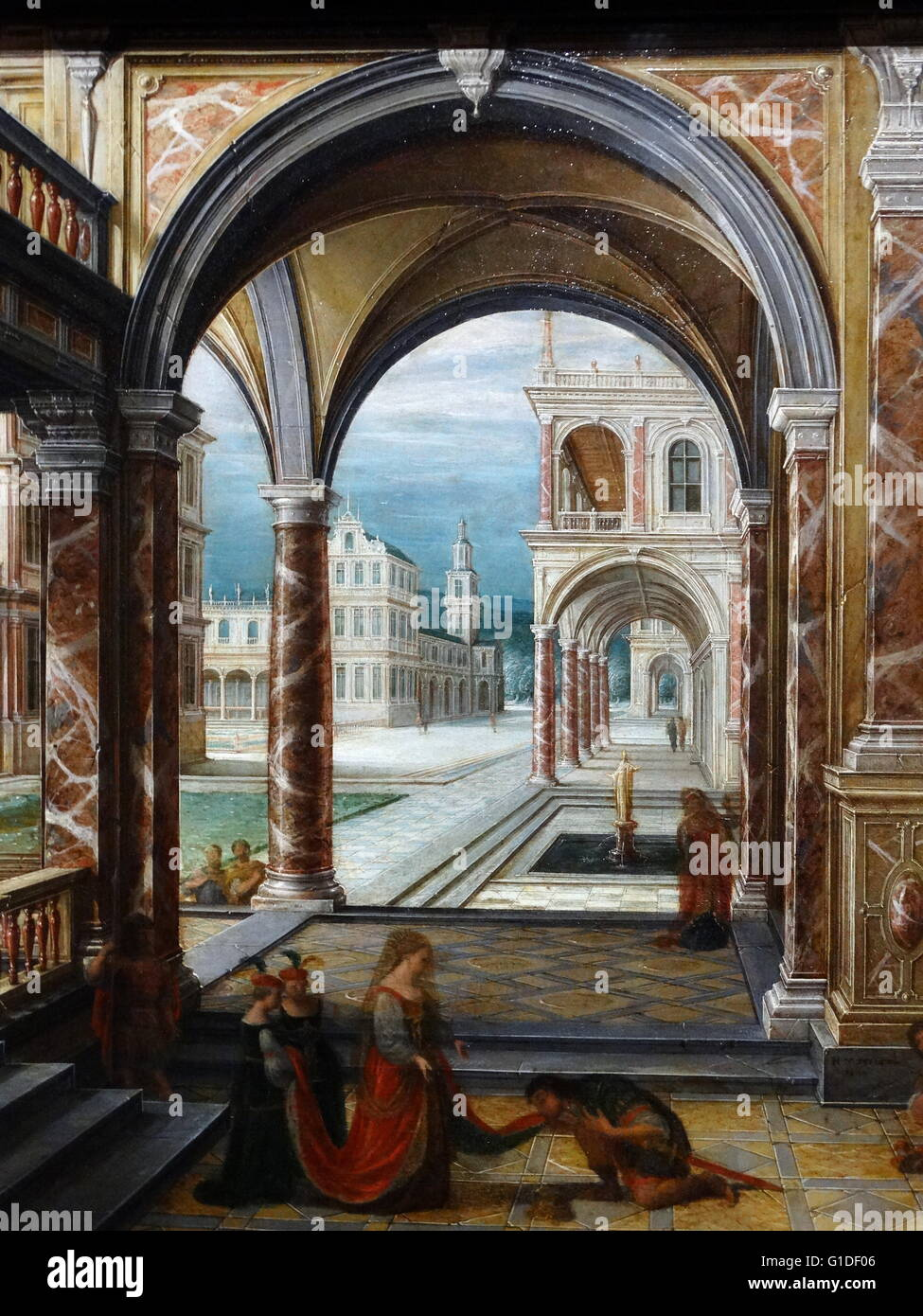 Detail from the painting titled 'The Courtyard of a Renaissance Palace' by Hendrik van Steenwijk II (1580 - Stock Image