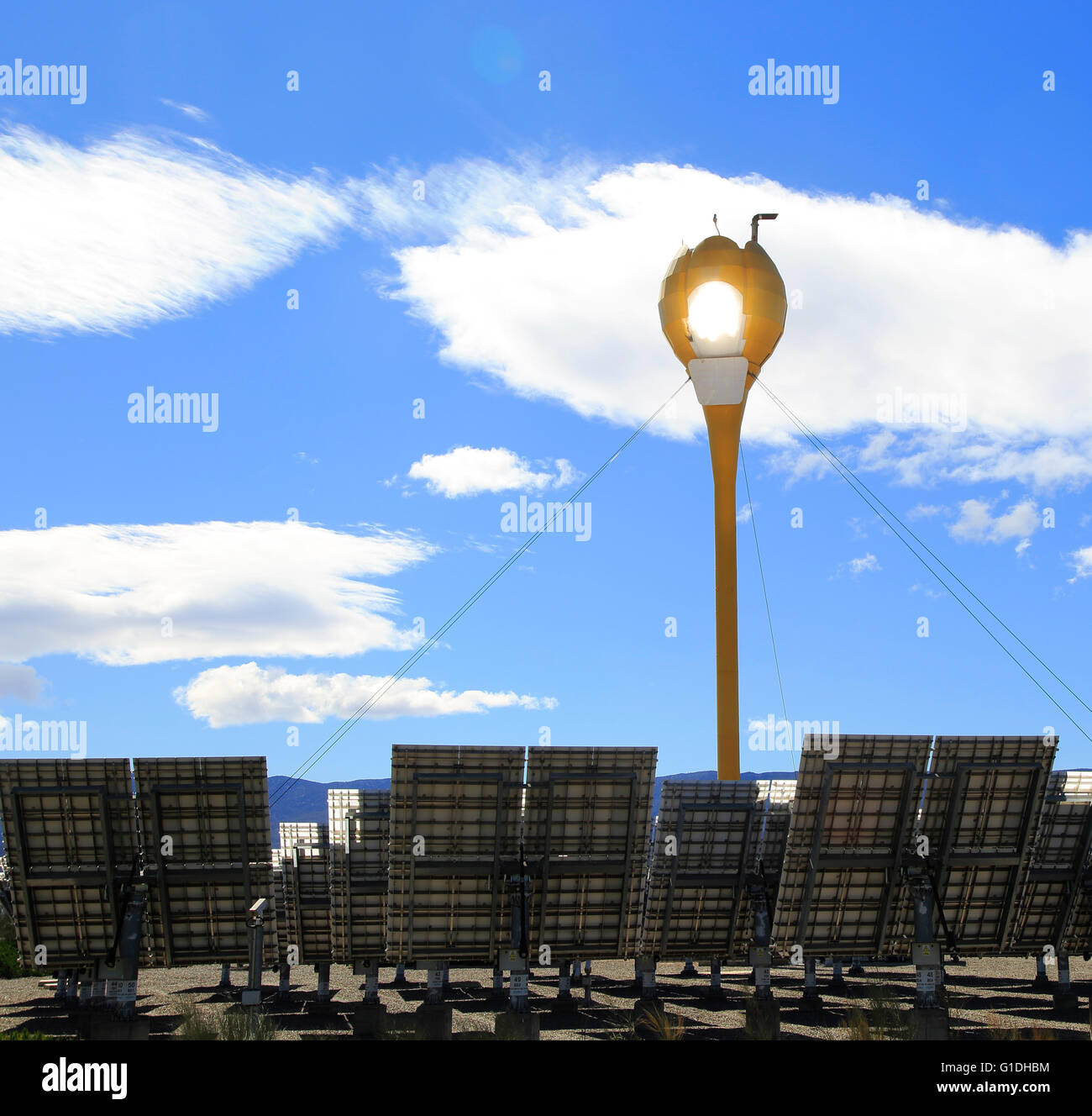 Heliostats reflect sunrays to receiver tower, solar energy scientific research centre, Tabernas, Almeria, SpainStock Photo
