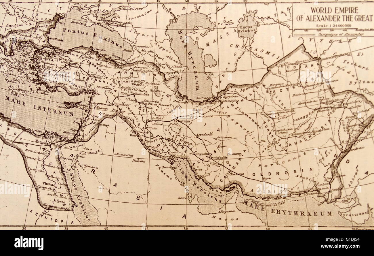 Map showing the empire of the Greek conqueror, Alexander the Great 356-323 BC - Stock Image