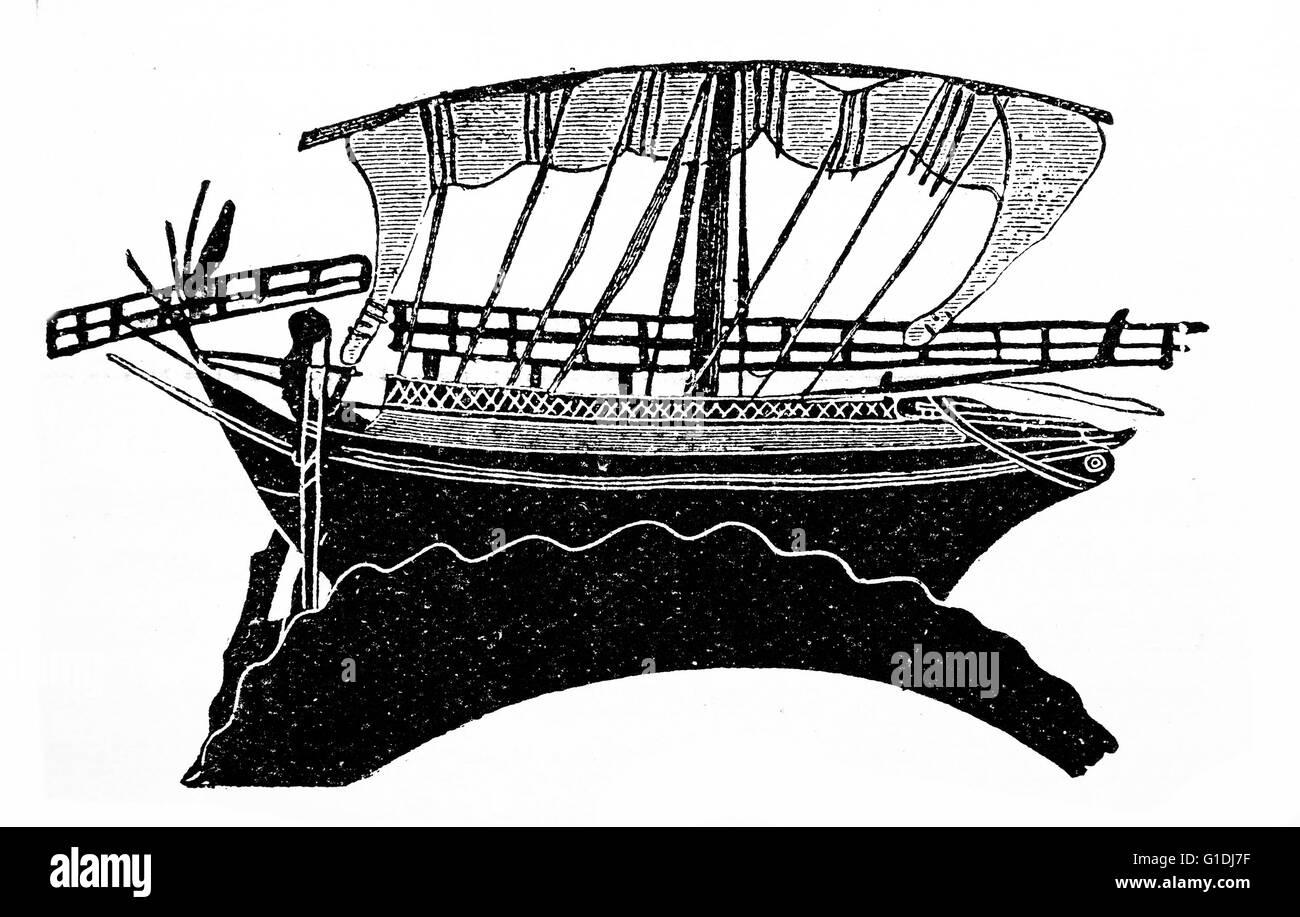 Greek trading or merchant ship 5th century BC - Stock Image