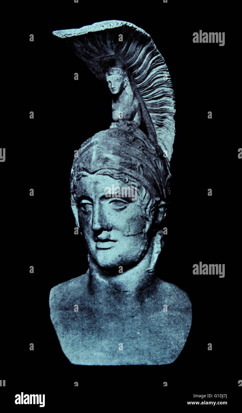 Roman God of war Mars (Ares) , head of Roman statue 3rd-4th century AD; Munich - Stock Image