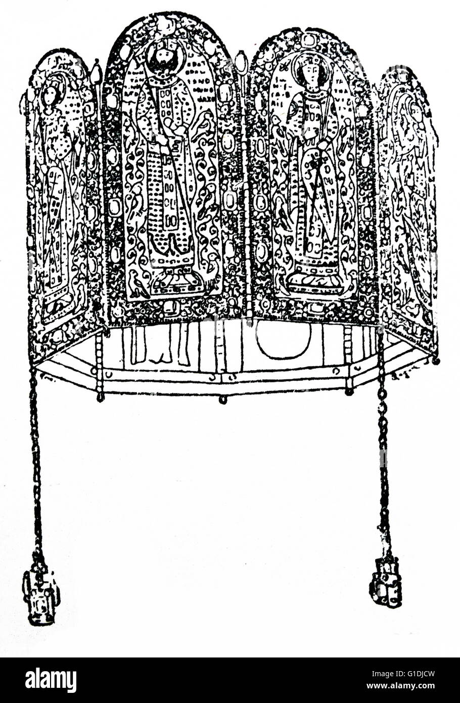 The Monomachus Crown (Hungarian: Monomakhosz-korona) is a piece of engraved Byzantine gold work, decorated with - Stock Image