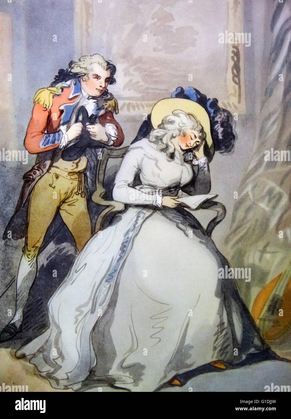 Tom Jones and Sophia Western by Thomas Rowlandson. - Stock Image