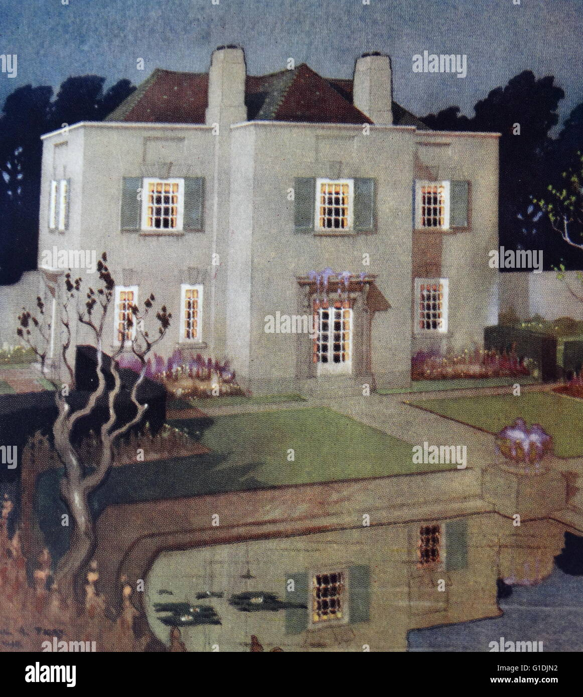 Painting of a house in Hampstead Garden Suburb, London - Stock Image