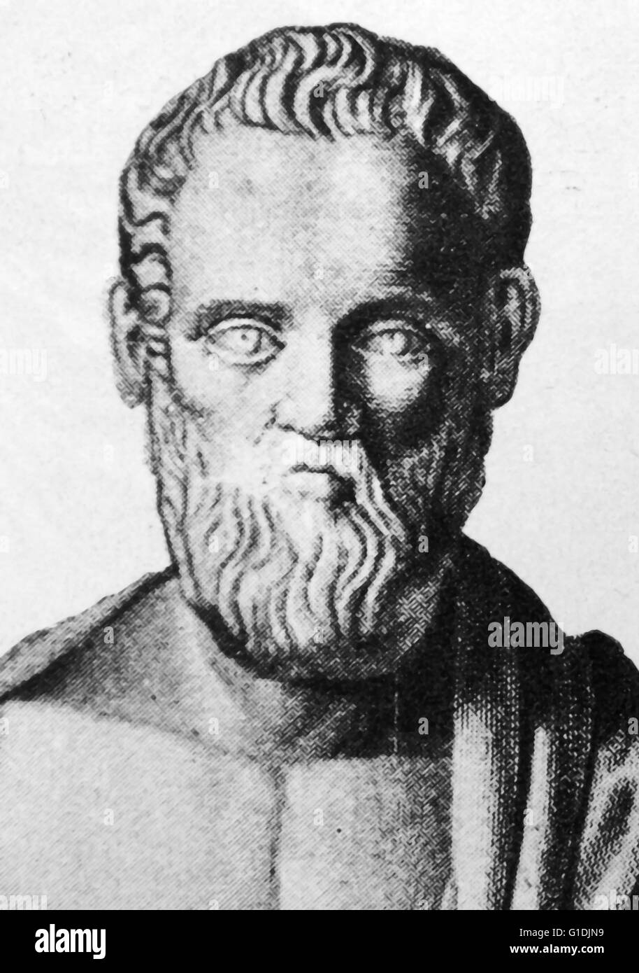 Bust of Isocrates (436-338 BC), an ancient Greek rhetorician, was one of the ten Attic orators - Stock Image