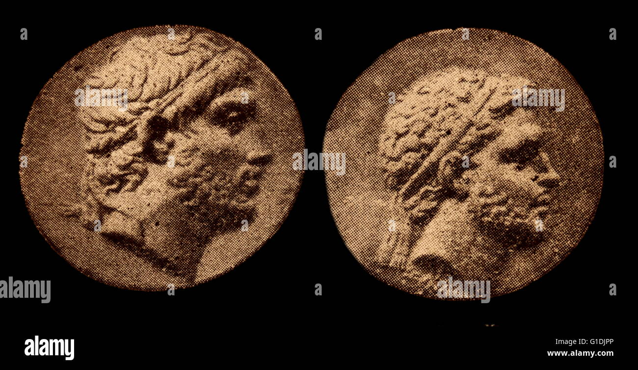Engravings depicting King Philip V and Perseus, Kings of Macedon - Stock Image