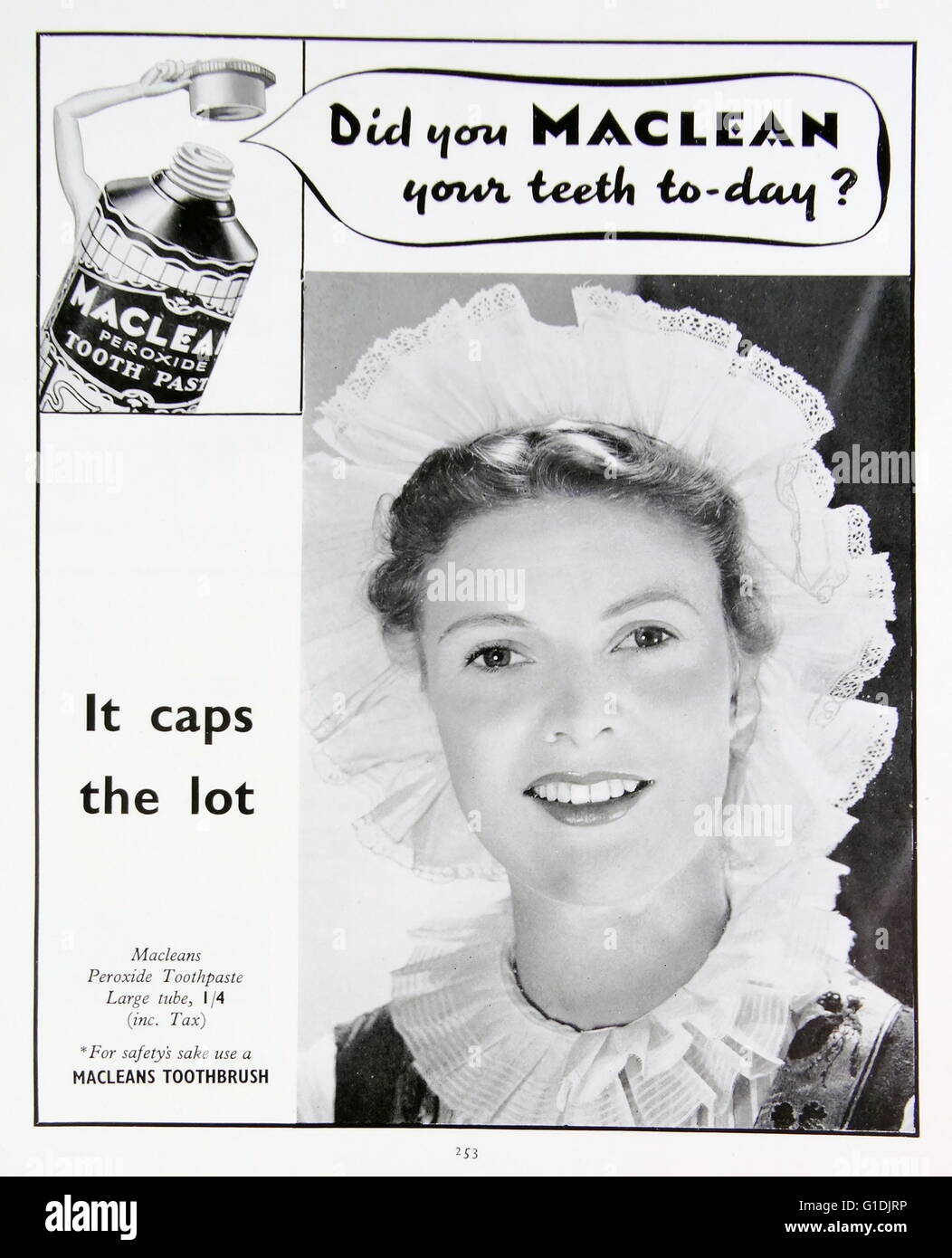 Advert for Maclean toothpaste - Stock Image