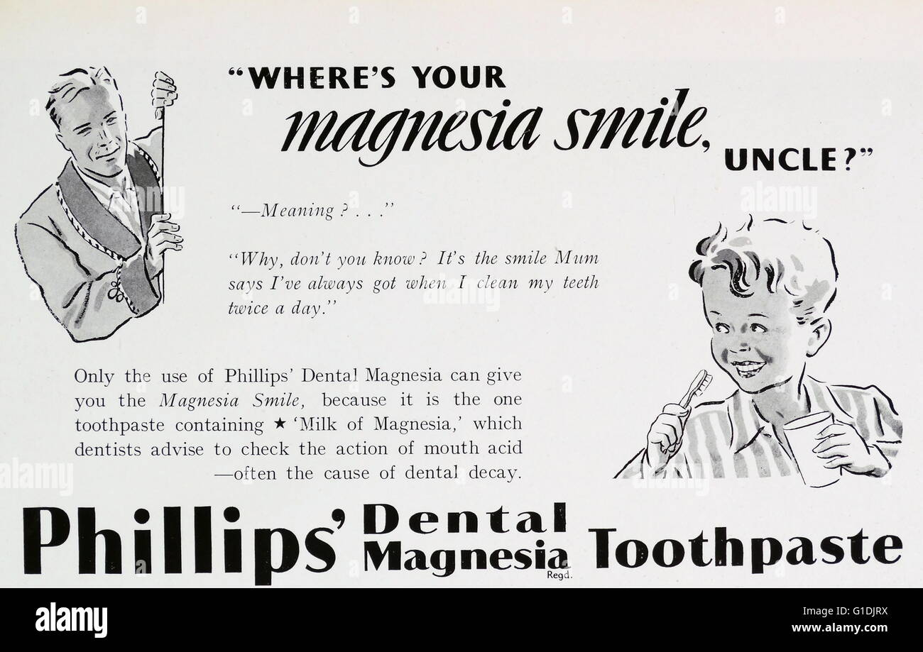 Advert for Phillips' magnesia toothpaste - Stock Image