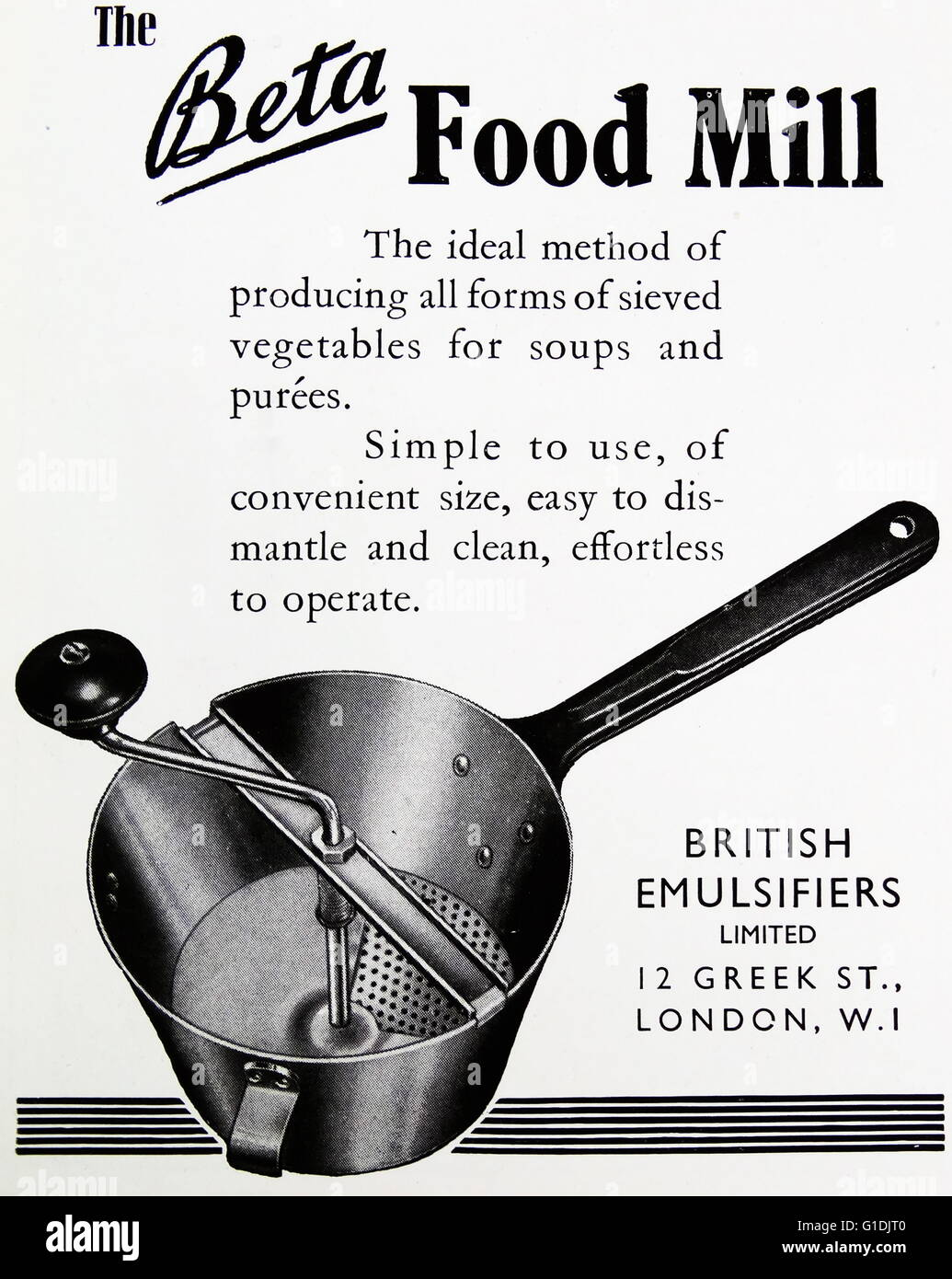 Advert for the British Emulsifiers Ltd. Cookware Products - Stock Image