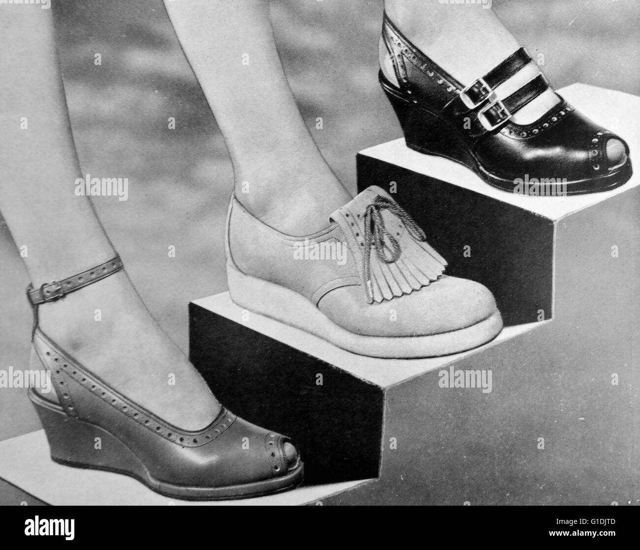 3 styles of women's shoes by 'Joyce' c1955, British shoes introduced at the end of post war rationing, - Stock Image