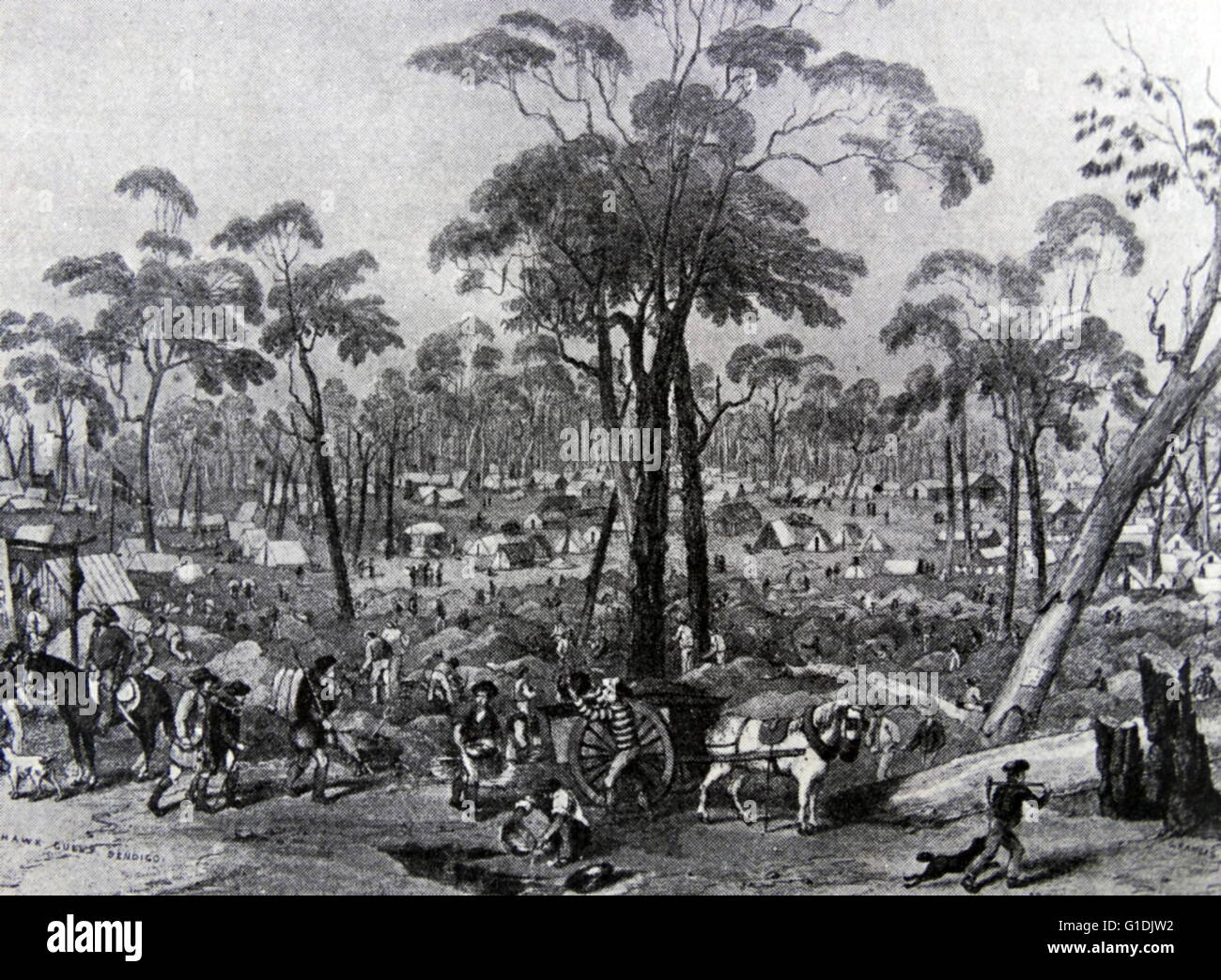 The discovery of gold in the area of Bendigo in the 1850s marked a boom era in the state of Victoria, Australia, - Stock Image