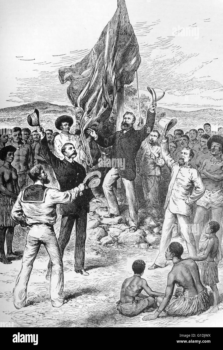 British cease control of Papua New Guinea from German colonial rule in March 1875. - Stock Image