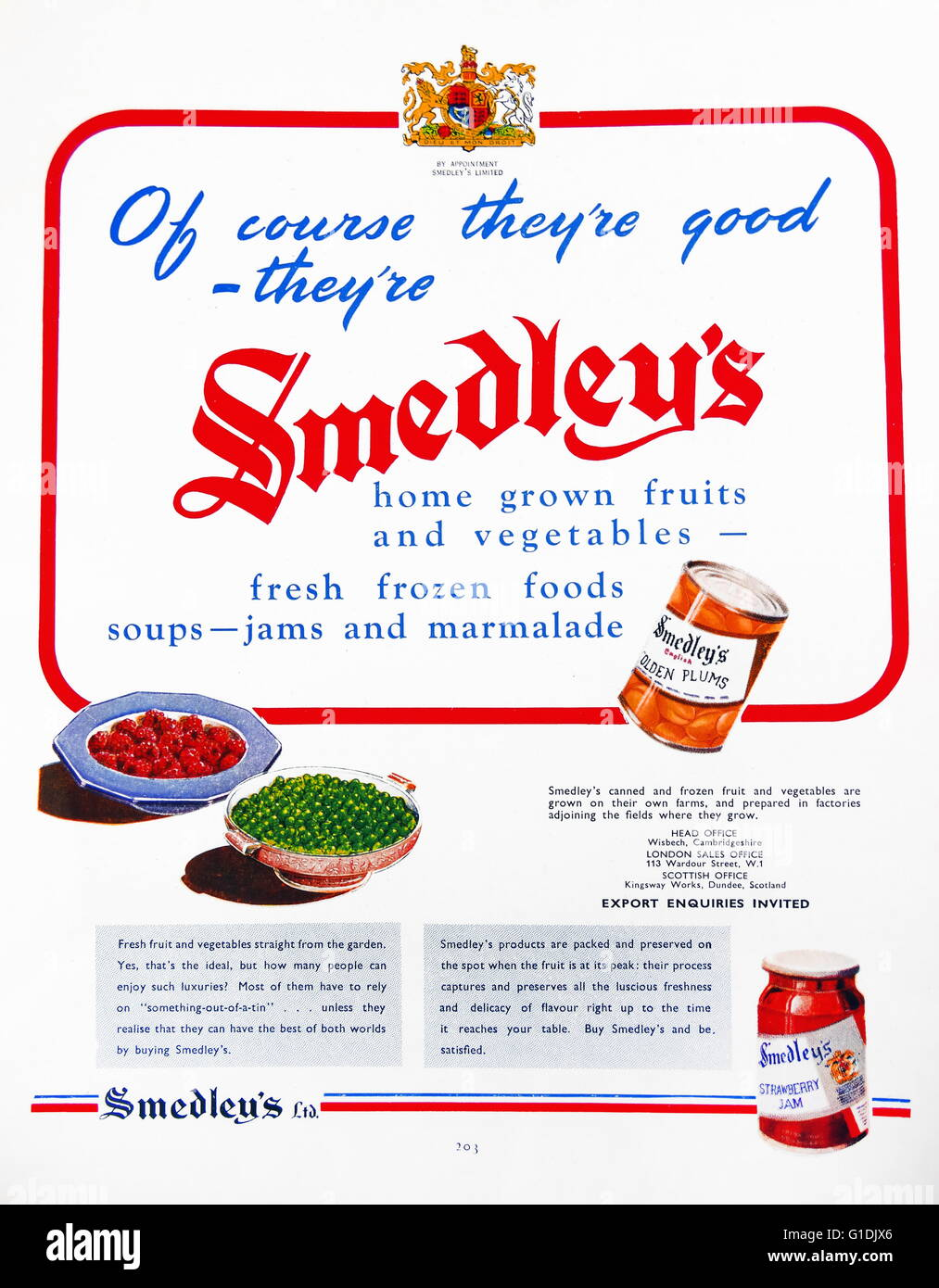 Advert for smedley's preserved fruits, jams and vegetables. Dated 1950 - Stock Image