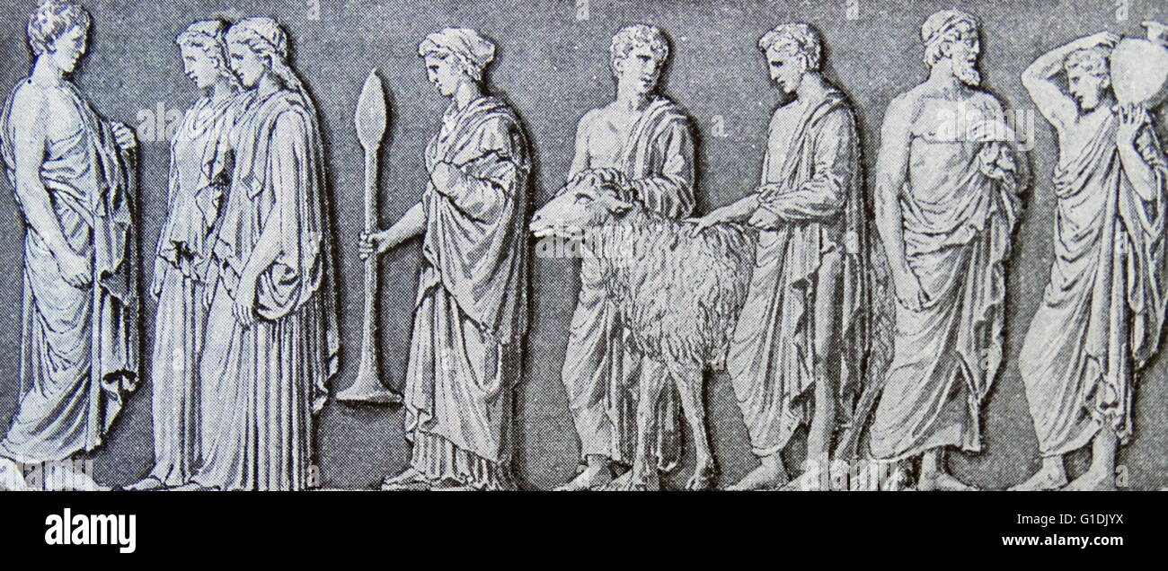 Illustration depicting a Greek frieze showing men and women on their way to sacrifice a ram at a temple c4th century - Stock Image