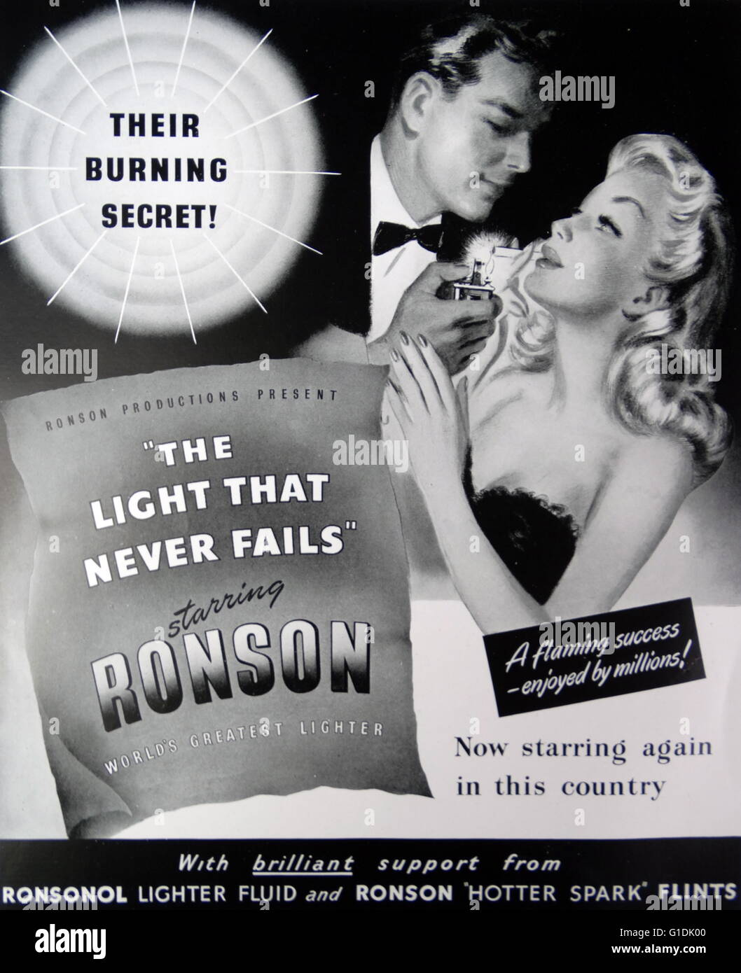 Advert for Ronson lighter fluid suggestive of romance and seduction. 1948 - Stock Image