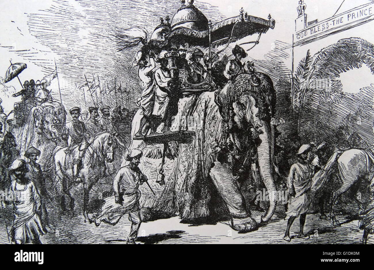 The prince of wales riding a elephant during his visit (later king Edward VII) at Baroda, November 1857. Stock Photo