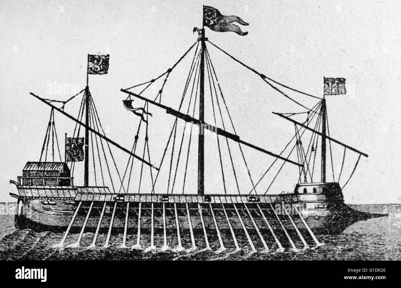 Illustration depicting a type of Venetian Galley used in the Battle of Lepanto. The Battle of Lepanto involved a - Stock Image