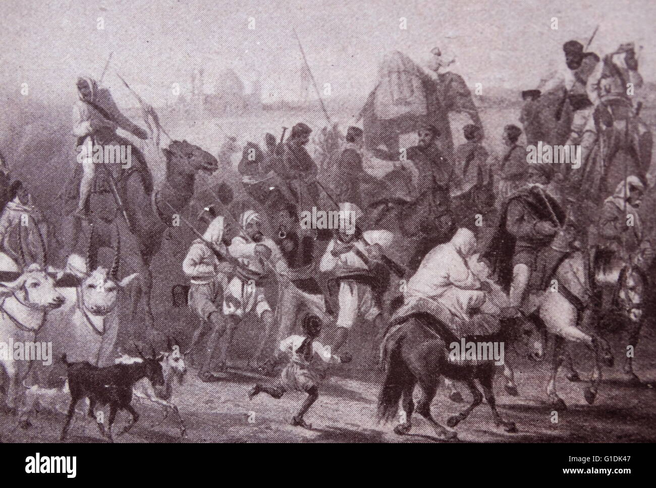 Scene depicting the troops of the Native Allies on the March during the Mutiny - Stock Image