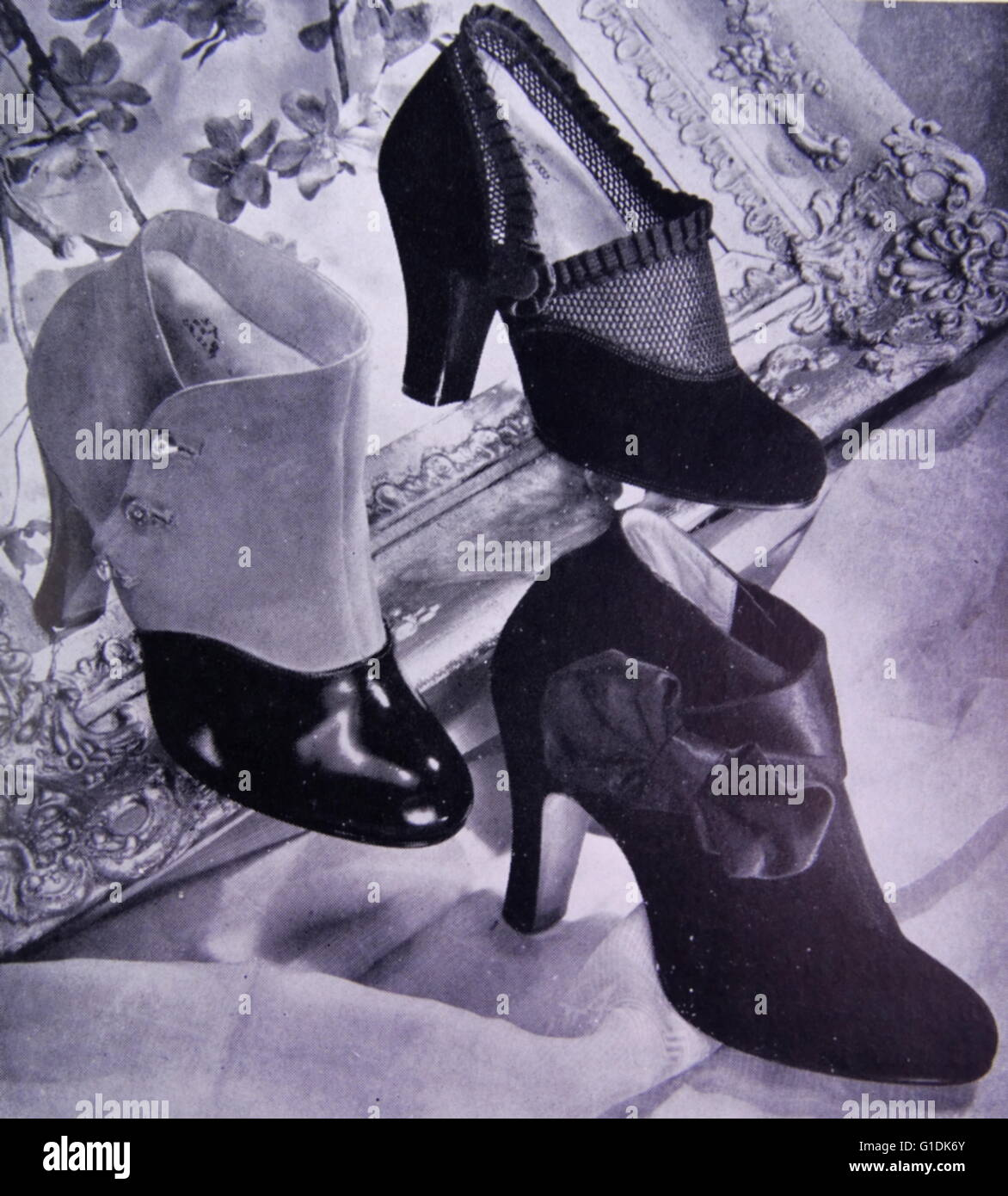 Advert for new elegant shoes by Rayne, a British manufacturer known for high-end and couture shoes. Founded in 1899 Stock Photo