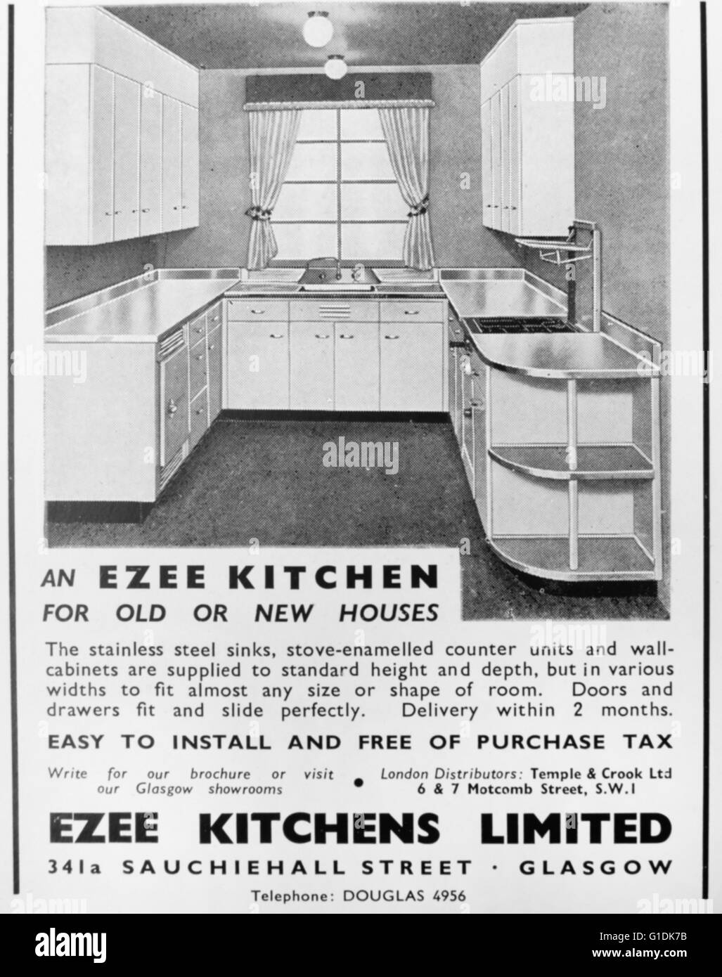 Advert for an 'Ezee Kitchen' from Ezee Kitchens Ltd. Glasgow - Stock Image